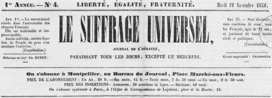 Photo (Occitanie) de : Le Suffrage universel. Montpellier, 1850-[1851 ?]. ISSN 2138-3855.