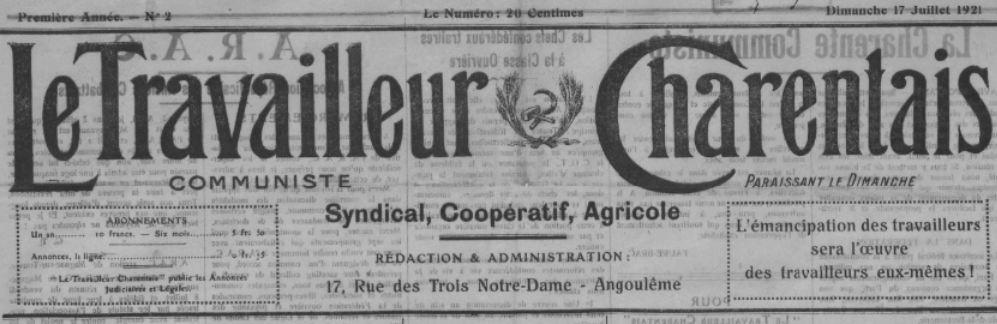 Photo (BnF / Gallica) de : Le Travailleur charentais. Angoulême, 1921-1928. ISSN 2107-8440.