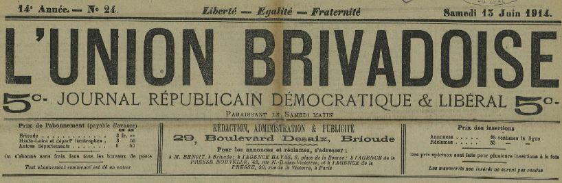 Photo (Haute-Loire. Archives départementales) de : L'Union brivadoise. Brioude, 1902-1916. ISSN 2025-4024.