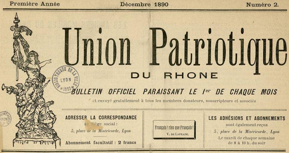 Photo (Bibliothèque municipale (Lyon)) de : Bulletin officiel. Union patriotique du Rhône. Lyon, 1890-[1904 ?]. ISSN 2123-1389.
