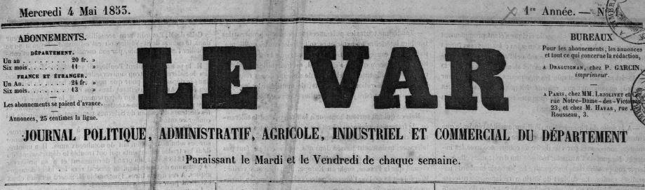 Photo (Médiathèque Villa Marie (Fréjus, Var)) de : Le Var. Draguignan, 1853-1944. ISSN 2139-6698.