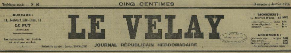 Photo (Haute-Loire. Archives départementales) de : Le Velay. Le Puy, 1912-1914. ISSN 2025-4008.