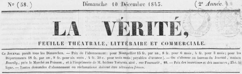 Photo (Occitanie) de : La Vérité. Montpellier, 1843-[1845 ?]. ISSN 2139-7503.