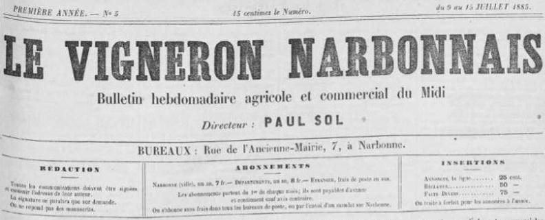 Photo (Occitanie) de : Le Vigneron narbonnais. Narbonne, 1885-1895. ISSN 2140-0695.