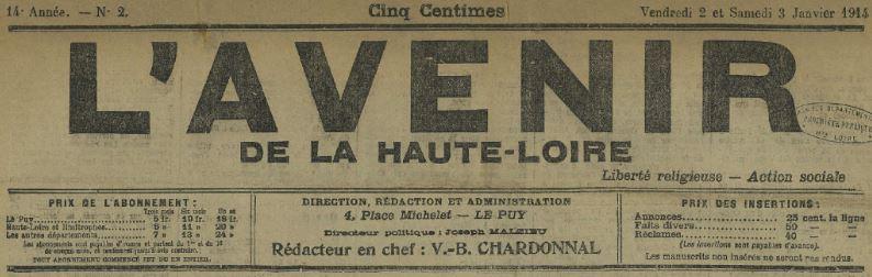 Photo (Haute-Loire. Archives départementales) de : L'Avenir de la Haute-Loire. Le Puy, 1901-1936. ISSN 0983-3463.