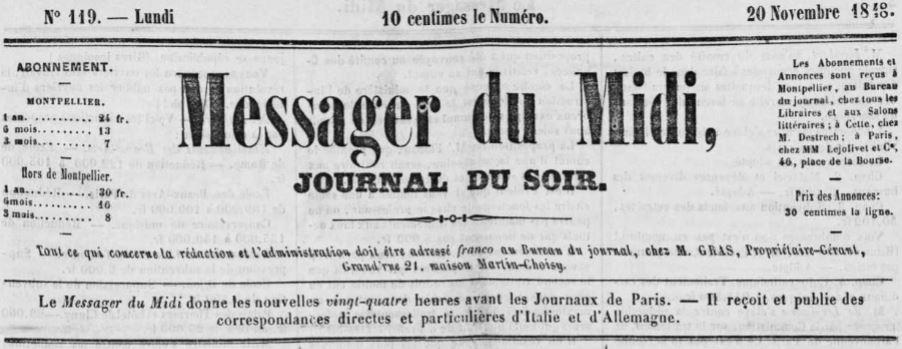 Photo (Occitanie) de : Le Messager du Midi. Montpellier, 1848-1892. ISSN 0988-260X.
