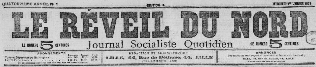 Photo (BnF / Gallica) de : Le Réveil du Nord. Lille, 1889-1944. ISSN 1141-1511.