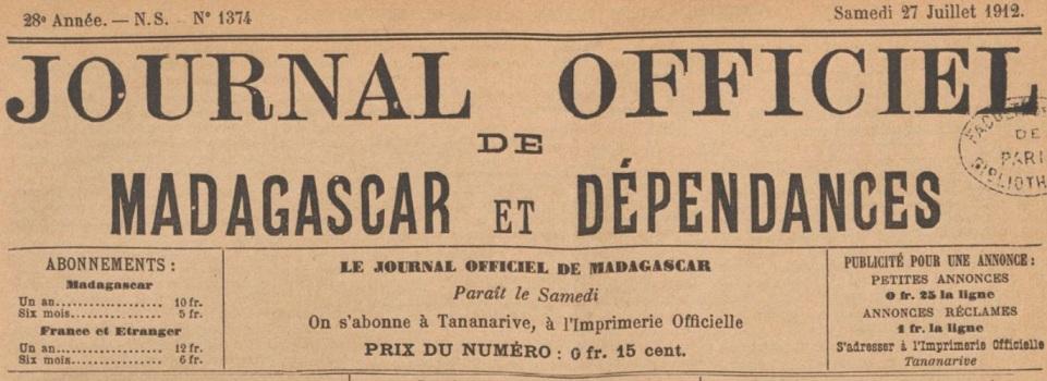 Photo (BnF / Gallica) de : Journal officiel de Madagascar et dépendances. Tananarive: Imprimerie nationale, 1896-1958. ISSN 1017-2173.