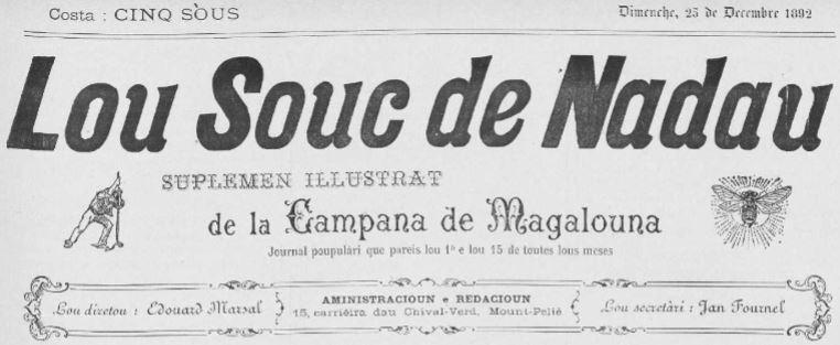 Photo (Occitanie) de : Lou Souc de Nadau. Mount-Pélié, 1892-[1903 ?]. ISSN 2016-6168.