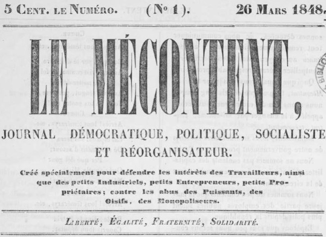 Photo (Occitanie) de : Le Mécontent. Montpellier, 1848. ISSN 2024-5491.