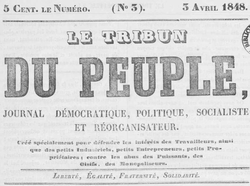 Photo (Occitanie) de : Le Tribun du peuple. Montpellier, 1848. ISSN 2024-5505.