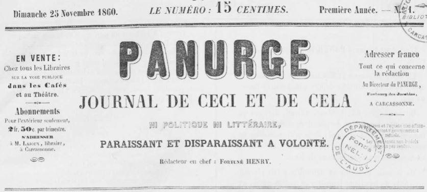 Photo (Occitanie) de : Panurge. Carcassonne, 1860-1862. ISSN 1963-9406.