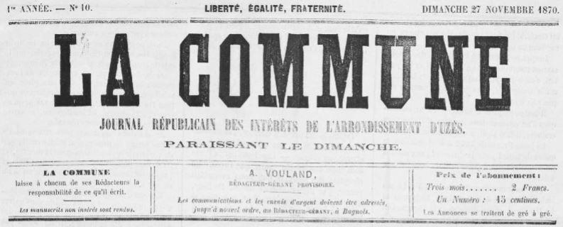 Photo (Occitanie) de : La Commune. Bagnols-sur-Cèze, 1870-1871. ISSN 1964-1419.