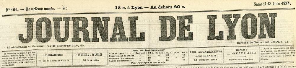 Photo (Bibliothèque municipale (Lyon)) de : Journal de Lyon. Éd. du soir. Lyon, 1871-1874. ISSN 1965-6874.