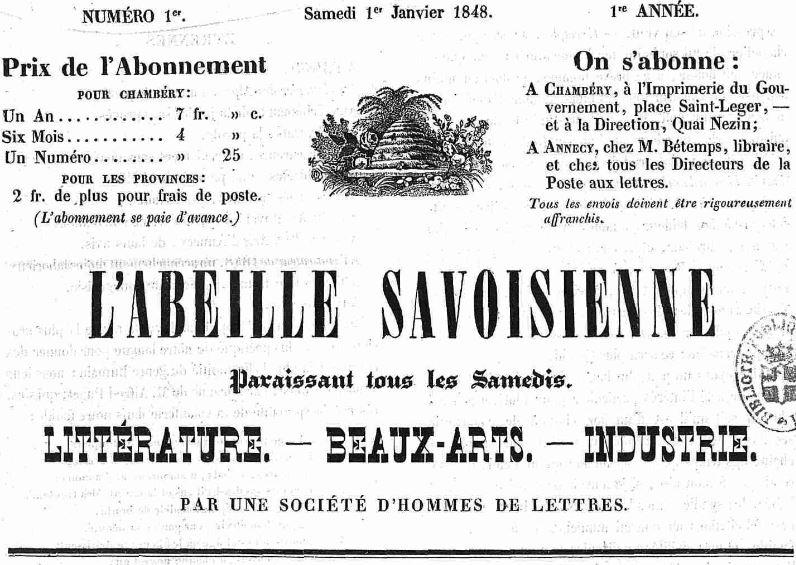 Photo (Auvergne-Rhône-Alpes livre et lecture) de : L'Abeille savoisienne. Chambéry, 1848. ISSN 1966-0421.