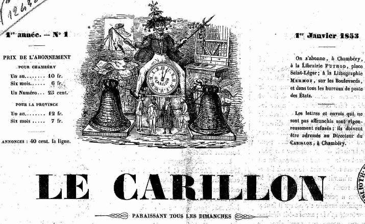 Photo (Auvergne-Rhône-Alpes livre et lecture) de : Le Carillon. Chambéry, 1853-[1854 ?]. ISSN 1966-043X.