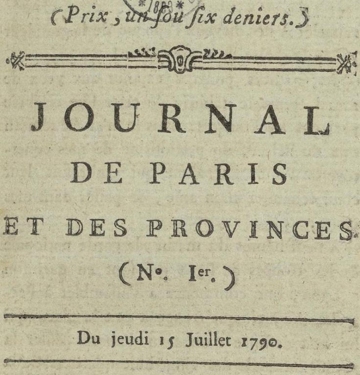 Photo (Bibliothèque municipale (Lyon)) de : Journal de Paris et des provinces. Lyon, 1790. ISSN 2106-2285.