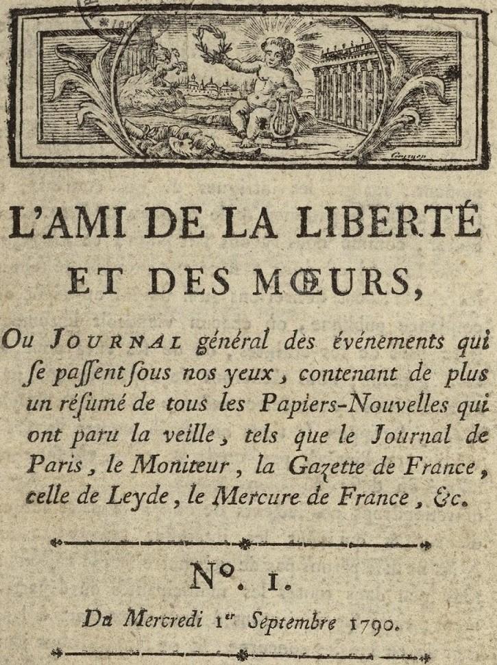 Photo (Bibliothèque municipale (Lyon)) de : L'Ami de la liberté et des mœurs. Lyon, 1790. ISSN 2106-2293.