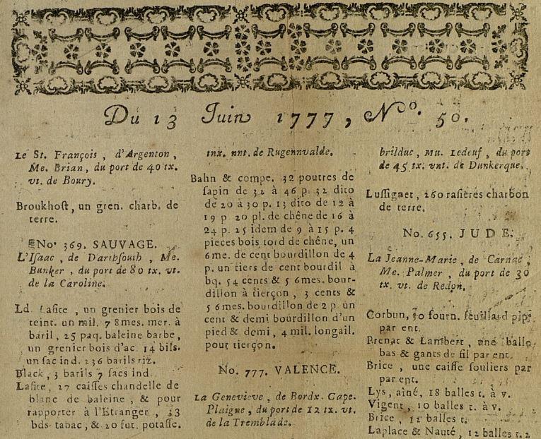 Photo (Bibliothèque municipale (Bordeaux)) de : [Feuilles et avis maritimes]. [Bordeaux], 1767-[1788?]. ISSN 2106-2889.
