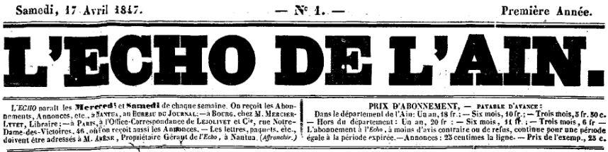 Photo (Auvergne-Rhône-Alpes livre et lecture) de : L'Écho de l'Ain. Nantua: Arène, propriétaire-gérant, 1847-1848. ISSN 2430-9966.
