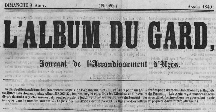 Photo (Occitanie) de : L'Album du Gard. Bagnols: Alban Broche, imprimeur, 1840-1841. ISSN 2431-0492.
