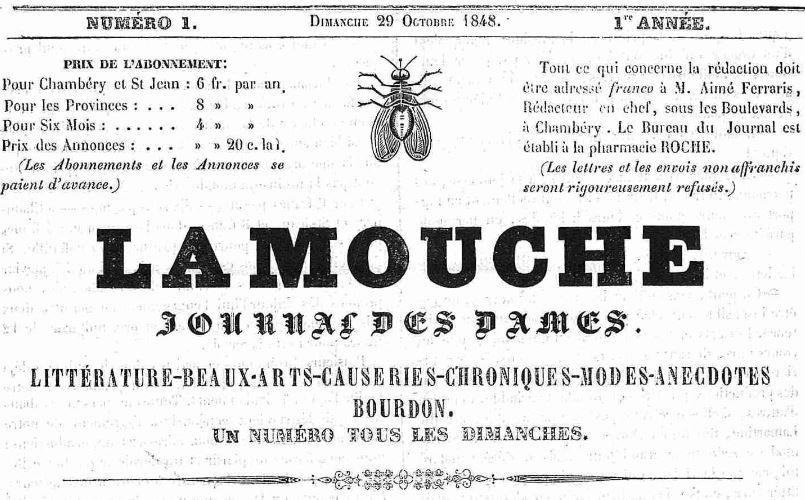 Photo (Auvergne-Rhône-Alpes livre et lecture) de : La Mouche. Chambéry: Pharmacie Roche, 1848-1849. ISSN 2491-6358.