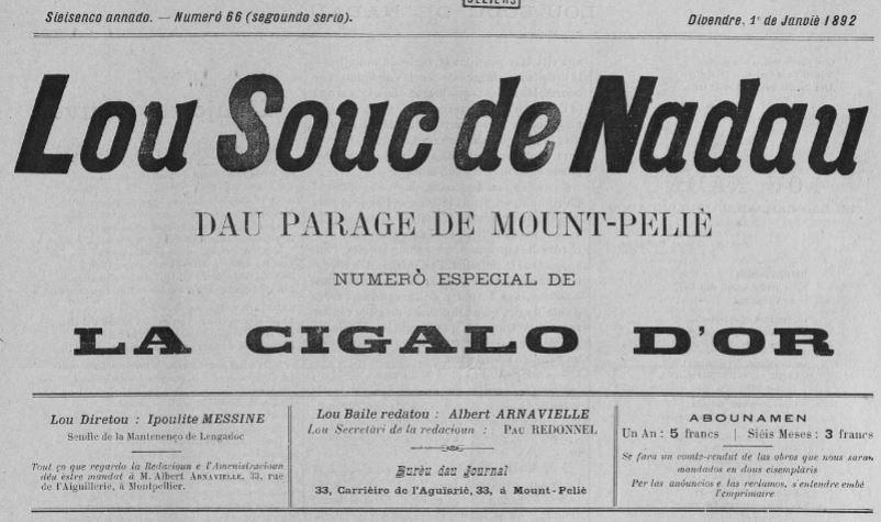 Photo (Occitanie) de : Lou Souc de Nadau dau parage de Mount-Peliè. Mount-Peliè, 1891-1892. ISSN 2493-4550.