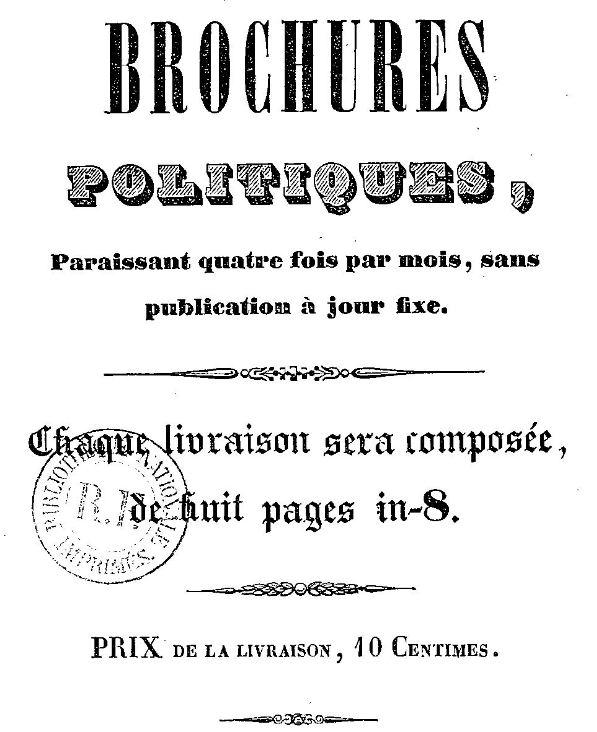 Photo (BnF / Gallica) de : Brochures politiques. Castelsarrasin, 1849. ISSN 2496-6266.