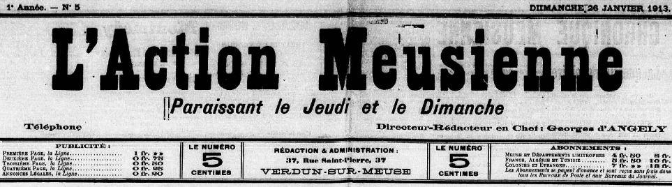 Photo (Meuse. Archives départementales) de : L'Action meusienne. Verdun-sur-Meuse, 1912-1913. ISSN 2120-1463.