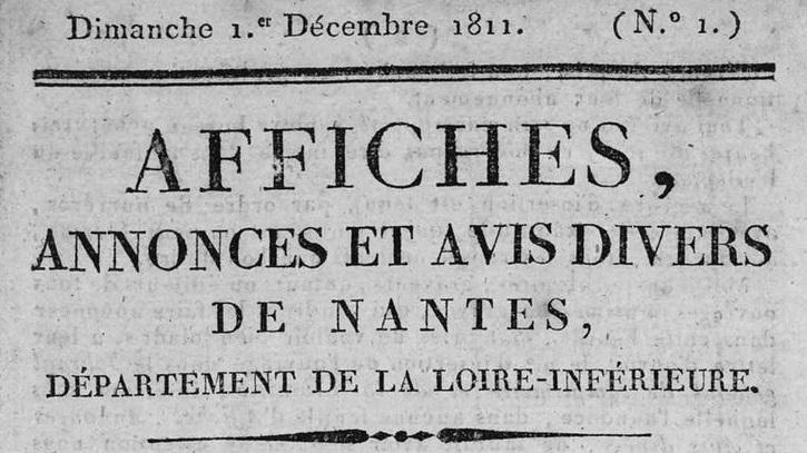 Photo (Loire-Atlantique. Archives départementales) de : Affiches, annonces et avis divers de Nantes, département de la Loire-Inférieure. Nantes, 1811-1821. ISSN 2120-3849.
