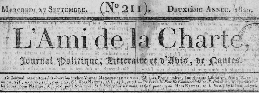 Photo (Loire-Atlantique. Archives départementales) de : L'Ami de la Charte. Nantes, 1819-1837. ISSN 2120-6384.