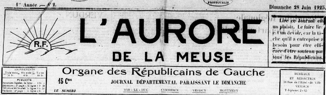 Photo (Meuse. Archives départementales) de : L'Aurore de la Meuse. Verdun, 1925. ISSN 2121-1418.