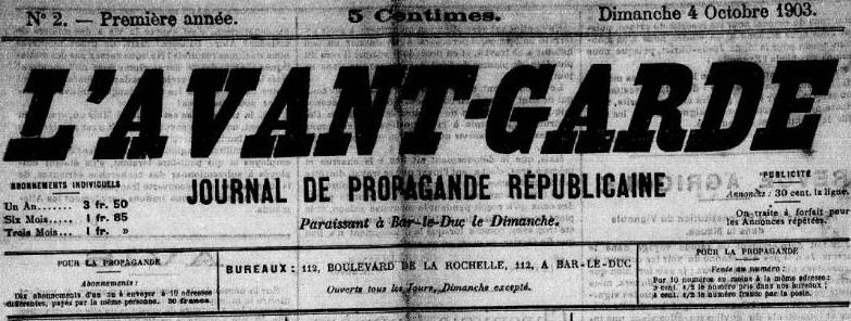 Photo (Meuse. Archives départementales) de : L'Avant-garde. Bar-le-Duc, 1903-[1904 ?]. ISSN 2121-2015.
