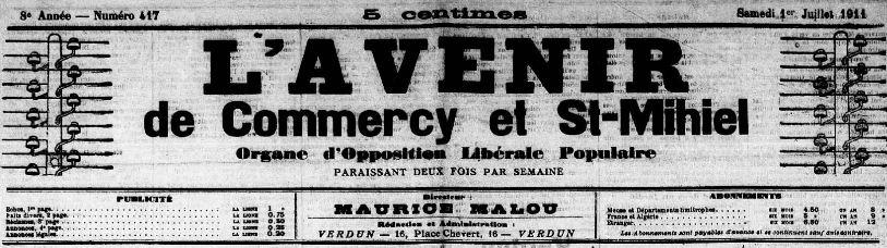 Photo (Meuse. Archives départementales) de : L'Avenir de Commercy et St-Mihiel. Verdun-sur-Meuse, 1911-[1914 ?]. ISSN 2121-4050.