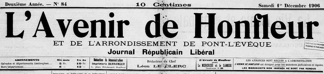 Photo (Calvados. Archives départementales) de : L'Avenir de Honfleur et de l'arrondissement de Pont-L'Évêque. Honfleur, 1906-1923. ISSN 2121-4239.
