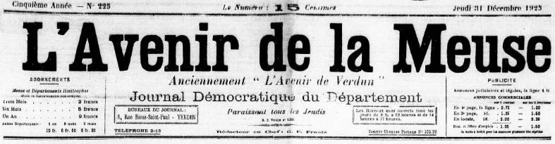 Photo (Meuse. Archives départementales) de : L'Avenir de la Meuse. Verdun, 1925-1934. ISSN 2121-4751.