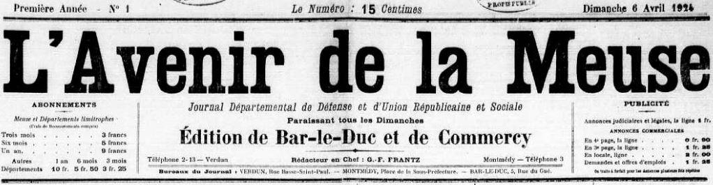 Photo (Meuse. Archives départementales) de : L'Avenir de la Meuse. Verdun, Montmédy, Bar-le-Duc, 1924. ISSN 2121-476X.