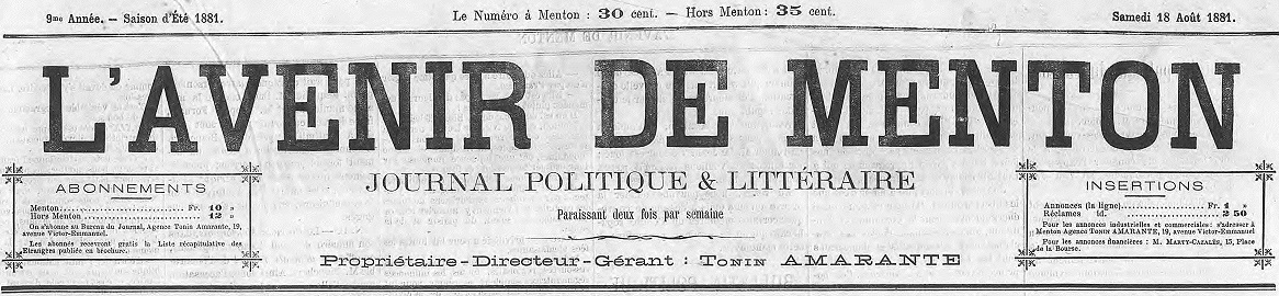 Photo (Alpes-Maritimes. Archives départementales) de : L'Avenir de Menton. Menton, 1874-1914. ISSN 2121-5057.