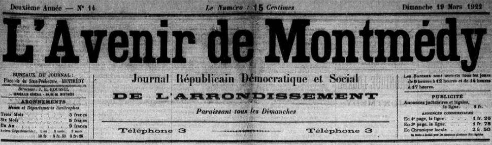 Photo (Meuse. Archives départementales) de : L'Avenir de Montmédy. Montmédy, 1921-1926. ISSN 2121-5103.