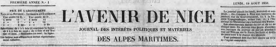 Photo (Alpes-Maritimes. Archives départementales) de : L'Avenir de Nice. Nice, 1850-1860. ISSN 2021-1139.