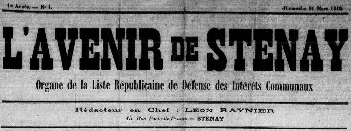 Photo (Meuse. Archives départementales) de : L'Avenir de Stenay. Stenay, 1912. ISSN 2121-5448.
