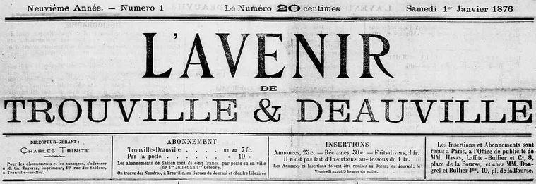 Photo (Calvados. Archives départementales) de : L'Avenir de Trouville & Deauville. Trouville-sur-Mer, 1876-1919. ISSN 2121-5464.