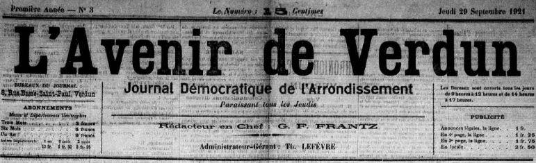 Photo (Meuse. Archives départementales) de : L'Avenir de Verdun. Verdun, 1921-1925. ISSN 2121-5499.