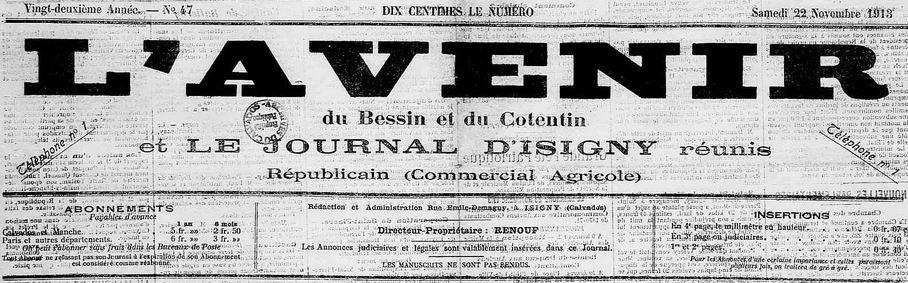 Photo (Calvados. Archives départementales) de : L'Avenir du Bessin et du Cotentin et Le Journal d'Isigny réunis. Isigny, 1913-1944. ISSN 2121-5804.