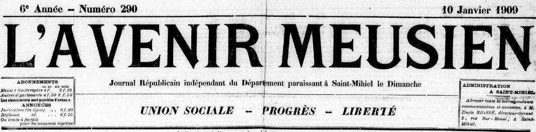 Photo (Meuse. Archives départementales) de : L'Avenir meusien. Saint-Mihiel, 1909-1911. ISSN 2121-6509.