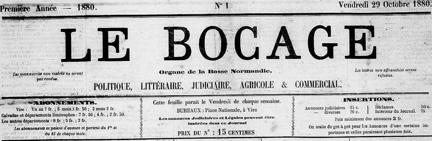 Photo (Calvados. Archives départementales) de : Le Bocage. Vire, 1880-1941. ISSN 2122-0379.