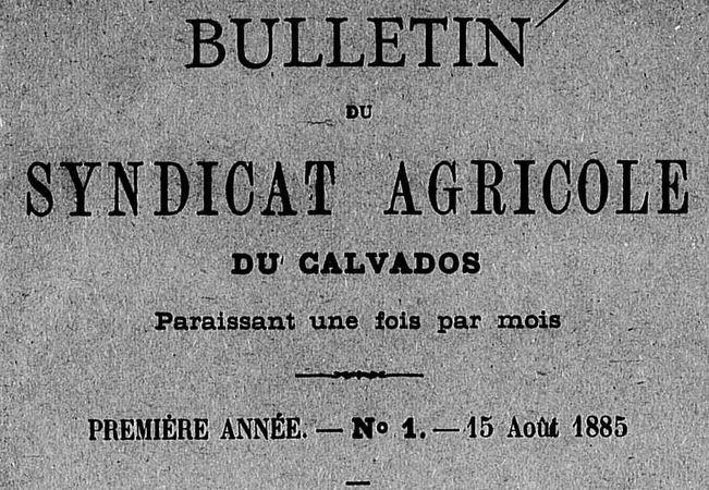 Photo (Calvados. Archives départementales) de : Bulletin du Syndicat agricole du Calvados. Caen, 1885-1928. ISSN 2122-8981.