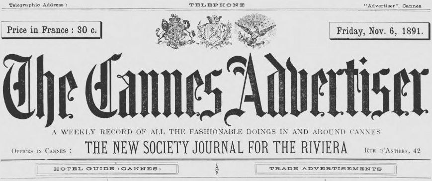 Photo (Alpes-Maritimes. Archives départementales) de : The Cannes advertiser. Cannes, 1891-[1894 ?]. ISSN 2123-3748.