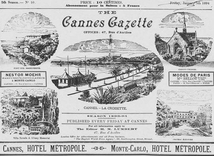 Photo (Alpes-Maritimes. Archives départementales) de : The Cannes gazette. Cannes, 1889-1904. ISSN 2123-3772.