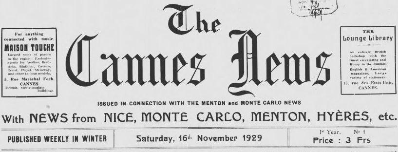 Photo (Alpes-Maritimes. Archives départementales) de : The Cannes news. Cannes, 1929-1933. ISSN 2123-3810.
